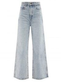 KHAITE Ella high-rise wide-leg cropped jeans ~ womens light blue crop hem denim trousers