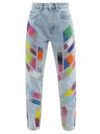 GERMANIER Embellished high-rise straight-leg jeans ~ beaded panel denim ~ womens casual fashion
