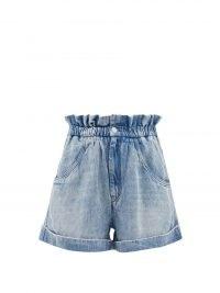 ISABEL MARANT ÉTOILE Itea blue paperbag-waist lyocell-denim shorts ~ womens 80s style high waist shorts