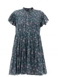 ISABEL MARANT ÉTOILE Lanikaye floral-print cotton-voile mini dress ~ floaty tiered hem boho dresses ~ feminine ruffle neck ~ flutter cap sleeve