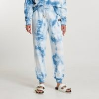 RIVER ISLAND Blue 'Los Angeles' tie dye joggers / womens drawstring waist cuffed hem jogging bottoms / women's on trend jogger
