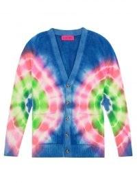 THE ELDER STATESMAN Olympus tie-dyed cashmere cardigan / womens front button V-neck cardigans / multicoloured knitwear / women's designer fashion