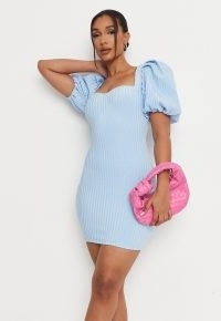 MISSGUIDED blue rib puff sleeve bandage mini dress ~ fitted going out evening dresses
