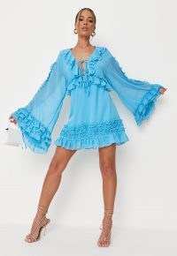 Missguided blue ruffle front smock dress | womens ruffled flare sleeve dresses | on trend fashion | plunge front