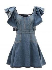ALEXANDER MCQUEEN Ruffle-sleeve scoop-neck denim mini dress ~ ruffled flared hem dresses ~ womens designer fashion