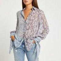 RIVER ISLAND Blue snake print tie sleeve shirt / womens tonal animal print shirts / reptile prints