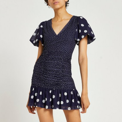 RIVER ISLAND Blue spot print mini dress ~ ruched detail puff sleeve fill hem going out dresses