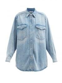 ISABEL MARANT ÉTOILE Tania lyocell-denim shirt ~ womens oversized soft feel blue denim shirts ~ 80s style casual fashion