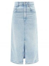 ISABEL MARANT ÉTOILE Tilauria hem-slit lyocell-denim midi skirt ~ straight fit front split lightweight denim skirts