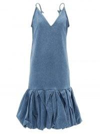 MARQUES'ALMEIDA V-neck denim dress | blue skinny strap balloon hem dresses | puffball style hemline