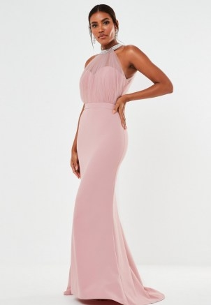 MISSGUIDED blush diamante organza halterneck maxi bridesmaid dress ~ glamorous pink halter neck bridesmaids dresses - flipped