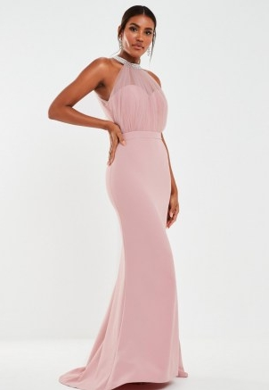 MISSGUIDED blush diamante organza halterneck maxi bridesmaid dress ~ glamorous pink halter neck bridesmaids dresses