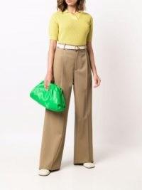 Bottega Veneta The Pouch green leather clutch bag ~ gathered detail handbags ~ designer bags
