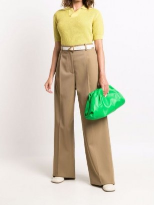 Bottega Veneta The Pouch green leather clutch bag ~ gathered detail handbags ~ designer bags - flipped
