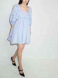 Brøgger Pernille puff-sleeve mini dress in blue dot / voluminous square neck open back summer dresses