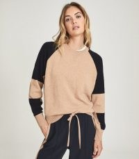 REISS BRIA WOOL CASHMERE BLEND JUMPER NAVY/CAMEL ~ womens chic colour block jumpers ~ women's crew neck sweaters