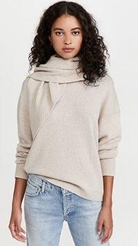 Brochu Walker Rhea Pullover with Scarf Neck Birch Melange / womens casual luxe jumpers / women's comfy sweaters / chic knitwear