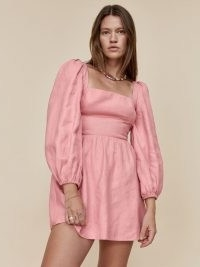 REFORMATION Brodie Linen Dress / pink square neck fitted bodice balloon sleeve dresses