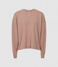 REISS BROOKE RELAXED LOUNGEWEAR SWEATSHIRT PINK ~ womens relaxed fit drop shoulder sweatshirts ~ loungewear tops
