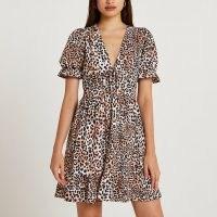 RIVER ISLAND Brown animal print frill hem mini dress