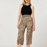 RIVER ISLAND Brown animal print wide leg crop trousers / womens cropped hem pants