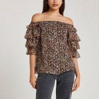 RIVER ISLAND Brown frill sleeve bardot top – ruffle sleeve off the shoulder tops ~ animal print fashion