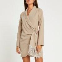 River Island Brown fringe detail blazer dress | wrap style jacket dresses | womens party fashion