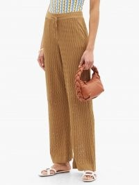 DODO BAR OR Gail flared eyelet-striped trousers in brown ~ womens knitted and wavy eyeletted stripe drawstring waist trousers