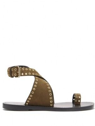 ISABEL MARANT Jools eyelet-embellished suede sandals ~ womens khaki-brown ankle strap flats - flipped