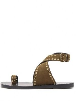 ISABEL MARANT Jools eyelet-embellished suede sandals ~ womens khaki-brown ankle strap flats