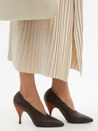 THE ROW Lady D brown woven-leather pumps ~ womens high vamp courts ~ designer point-toe court shoes
