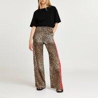 RIVER ISLAND Brown leopard side stripe wide leg trouser ~ womens casual animal print trousers