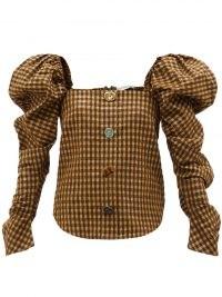REJINA PYO Maya puff-sleeve seersucker blouse in brown – checked blouses