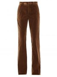 ETRO Oakland brown cotton-blend velvet flared trousers ~ women's high rise retro flares ~ women's 70s high rise vintage style pants