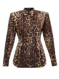 DOLCE & GABBANA Padded-shoulders leopard-print silk-blend blouse / glamorous structured animal print blouses / womens designer fashion