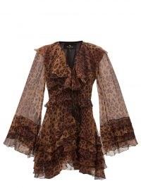 ETRO Palm Springs ruffled leopard-print silk dress ~ brown sheer sleeve ruffle dresses ~ animal prints ~ womens romantic fashion