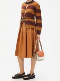 MARNI Panelled brown leather skirt | womens designer skirts | women's luxe fashion
