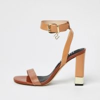 RIVER ISLAND Brown RI strap snake print block heels ~ barely there ankle strap high heel sandals ~ womens on trend shoes