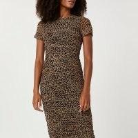 RIVER ISLAND Brown ruched leopard print midi dress ~ animal prints ~ short sleeve gathered dresses