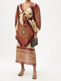 JOHANNA ORTIZ Sacred Soul abstract-print linen midi dress – mixed print balloon sleeve dresses – cut out tie front detail