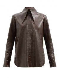 16ARLINGTON Seymour brown crocodile-effect leather shirt / womens croc embossed shirts / oversized pointed collar