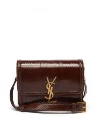 SAINT LAURENT Solferino python-effect brown leather shoulder bag ~ womens designer logo plaque bags