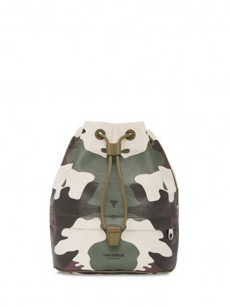 Burberry camouflage-print bucket bag / camo drawstring bags / drawcord top handbag - flipped