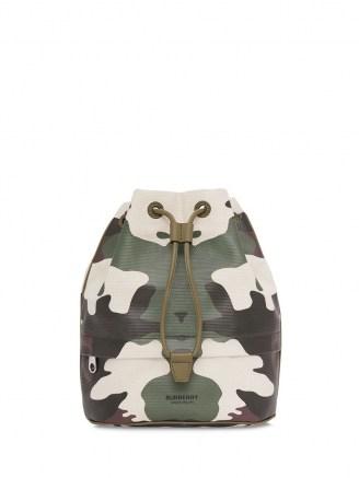 Burberry camouflage-print bucket bag / camo drawstring bags / drawcord top handbag
