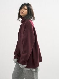 RAEY Displaced-sleeve roll-neck burgundy wool sweater / women's oversized slouchy sweaters / womens slouch style jumpers