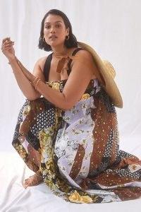 Maeve Floral Maxi Dress / sleeveless plus size square neck summer dresses