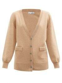 PACO RABANNE Crystal-button wool-blend cardigan ~ light brown embellished button front cardigans ~ womens designer knitwear