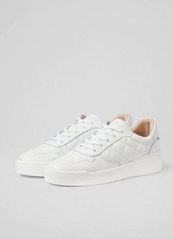 L.K. BENNETT CAMPBELL WHITE LEATHER QUILTED TRAINERS / sports luxe shoes / chunky sole trainer - flipped