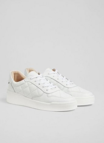 L.K. BENNETT CAMPBELL WHITE LEATHER QUILTED TRAINERS / sports luxe shoes / chunky sole trainer