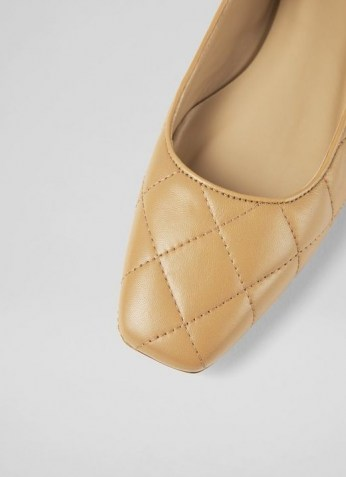 L.K. BENNETT CAROLINA CAMEL NAPPA LEATHER FLATS / luxe light brown quilted ballerinas / square toe ballerina flat shoes - flipped